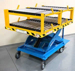 Double Shelving Unit Top with Conveyors - Custom Motorized Scissor Lift Cart