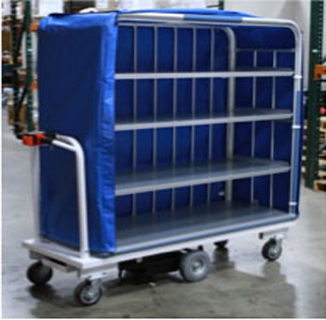 Anodized Aluminum shelving motorized utility linen cart