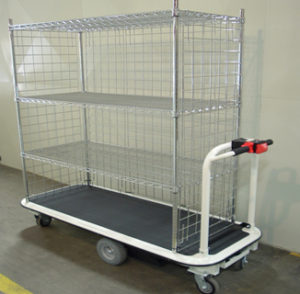 Chrome wire shelving motorized utility cart