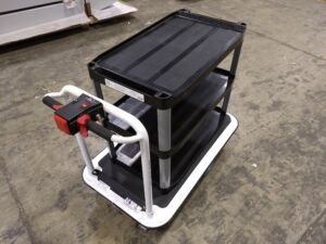 Custom Motorized Platform Cart with Rubbermaid Shelving